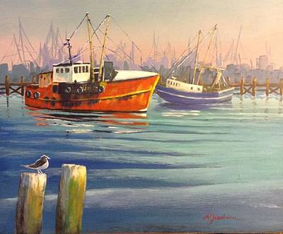 Shrimp Boats Poster by Marilyn Jacobson