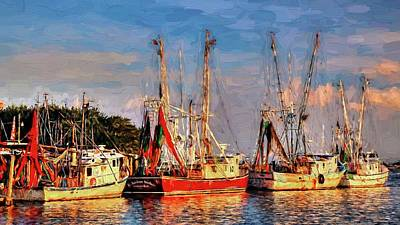 Shrimp Boats Shem Creek In Mt. Pleasant  South Carolina Sunset Poster