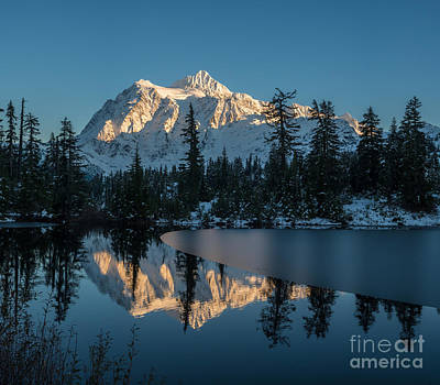 Shuksan Picture Lake Almost Frozen Poster by Mike Reid