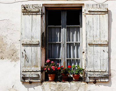 Shutters And Geraniums Poster by Marion McCristall