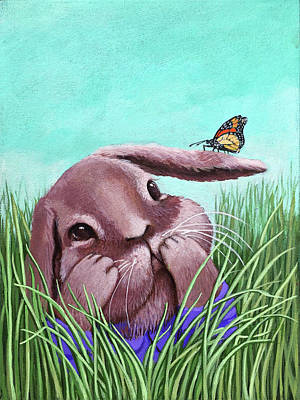 Poster featuring the painting Shy Bunny - Original Painting by Linda Apple