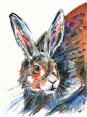 Poster featuring the painting Shy Hare by Zaira Dzhaubaeva