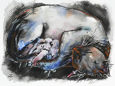 Poster featuring the painting Siamese Cat With Kittens by Zaira Dzhaubaeva