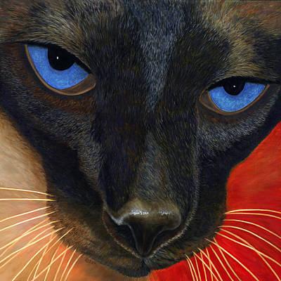 Poster featuring the painting Siamese by Karen Zuk Rosenblatt