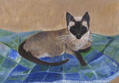Poster featuring the painting Siamese Nap by Jamie Frier