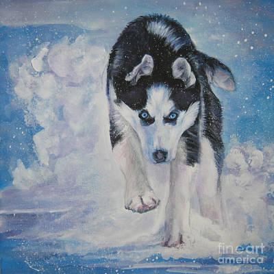 Siberian Husky Run Poster by Lee Ann Shepard