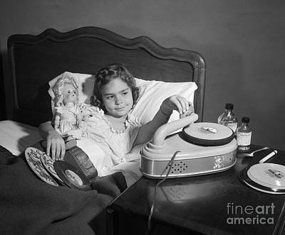 Sick Girl Playing Records, C.1950s Poster