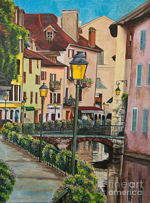 Side Streets In Annecy Poster by Charlotte Blanchard