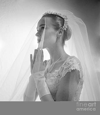 Side View Of Bride With Hands Poster