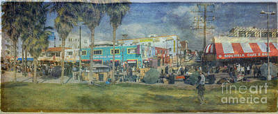 Poster featuring the photograph Sidewalk Cafe Venice Ca Panorama  by David Zanzinger