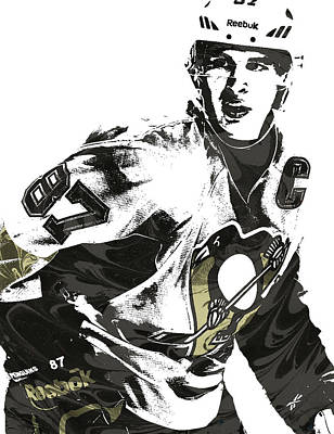 Sidney Crosby Pittsburgh Penguins Pixel Art Poster by Joe Hamilton