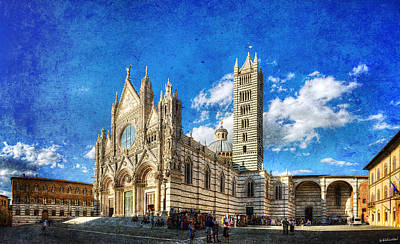Siena Cathedral In The Evening - Vintage Version Poster by Weston Westmoreland