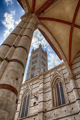 Siena Cathedral Tower Framed By Arch Poster