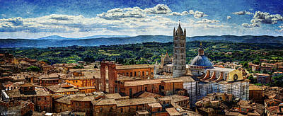 Siena - Duomo From Torre Del Mangia - Vintage Version Poster by Weston Westmoreland