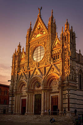 Siena Italy Cathedral Sunset Poster by Joan Carroll