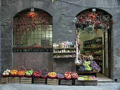 Poster featuring the photograph Siena Italy Fruit Shop by Mark Czerniec