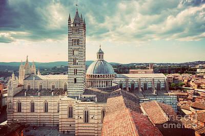 Siena, Italy Panorama City View. Siena Cathedral, Duomo Di Siena. Vintage Poster