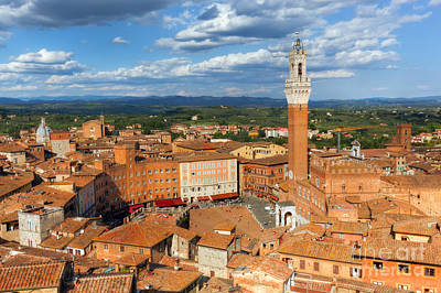 Siena, Italy Rooftop City Panorama. Mangia Tower, Italian Torre Del Mangia Poster