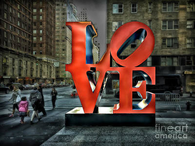 Poster featuring the photograph Sights In New York City - Love Statue by Walt Foegelle