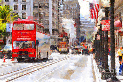 Sightseeing Along Powell Street In San Francisco California . 7d7269 Poster by Wingsdomain Art and Photography