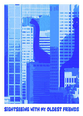 Sightseeing With My Oldest Friends - Brontosaurus Cityscape Poster by Rayanda Arts