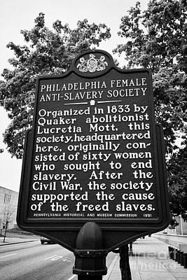 signpost commemorating Philadelphia female anti slavery society and lucretia mott USA Poster