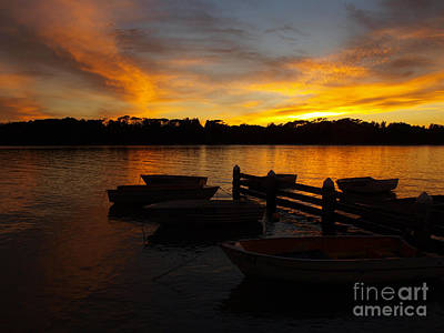 Silhouette Boats Poster by Trena Mara