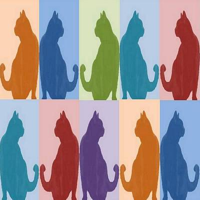 Silhouette Cat Collage Pattern New Media Art Poster by Tracey Harrington-Simpson