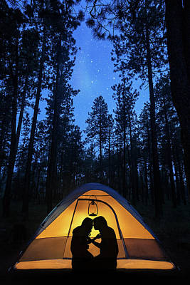 Silhouette Couple Camping Under Stars In Tent Poster by Susan Schmitz