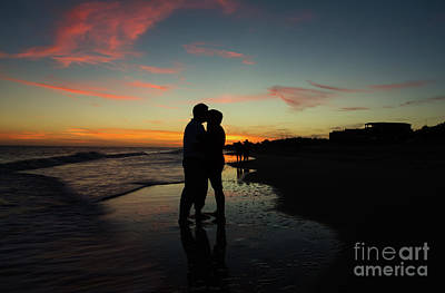 Silhouette Couple, Saint Joe Beach, Florida Poster by Ben Sellars