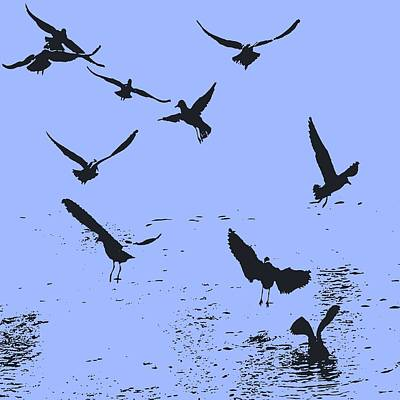 Silhouette Of A Flock Of Seagulls Over Water Vector Poster