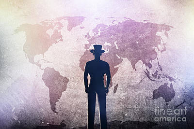 Silhouette Of A Man In Hat Standing In Front Of World Map On Grunge Concrete Wall Poster