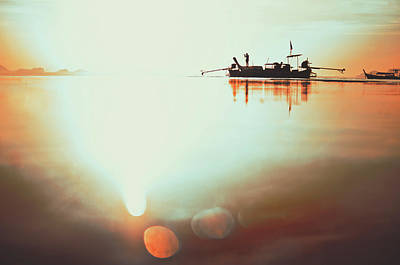 Silhouette Of A Thai Fisherman Wooden Boat Longtail During Beautiful Sunrise Thailand Poster