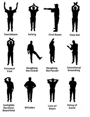 Silhouette Of Football Signals Poster