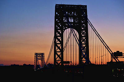 Silhouette Of George Washington Bridge At Sunset Poster by Ray Warren