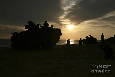 Silhouette Of Marines And An Amphibious Poster by Stocktrek Images