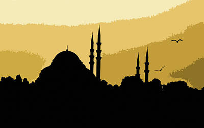 Silhouette Of Mosques In Istanbul Poster