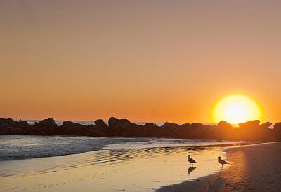 Silhouette Of Rocks On Beach At Sunset Poster