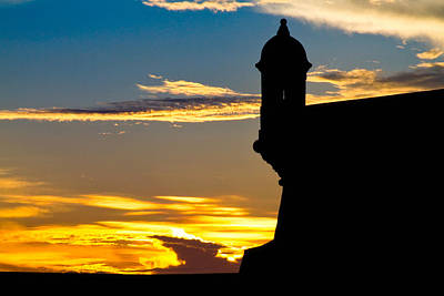 Silhouette Of The Walls Of El Morro Poster by George Oze