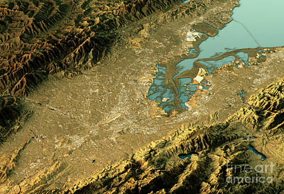 Silicon Valley 3d Landscape View East-west Natural Color Poster by Frank Ramspott