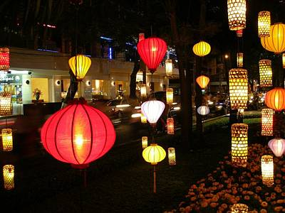 Silk Lamp Shades On The Street In Saigon Poster