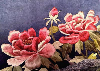 Silk Peonies - Kimono Series Poster