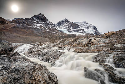 Poster featuring the photograph Silky Melt Water Of Athabasca Glacier by Pierre Leclerc Photography