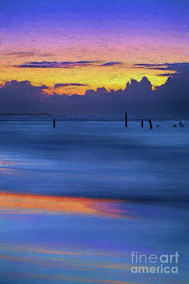 Poster featuring the painting Silky Sunrise Reflections Outer Banks Ap by Dan Carmichael