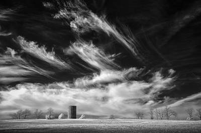 Silo And Clouds Poster by James Barber