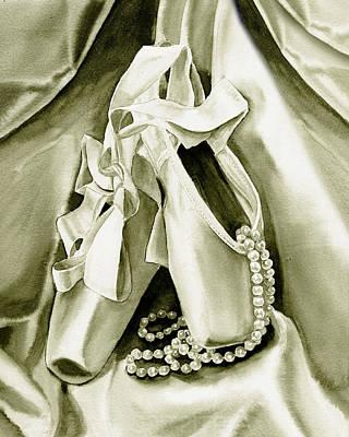 Silver Ballet Shoes Poster by Irina Sztukowski