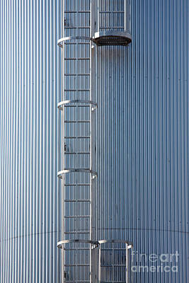 Silver Blue Silo With Steel Ladder. Poster