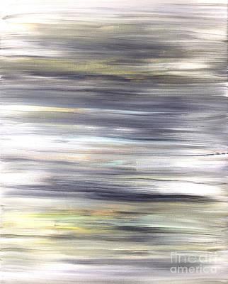 Silver Coast #26 Silver Teal Landscape Original Fine Art Acrylic On Canvas Poster