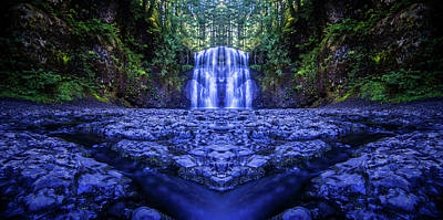 Silver Falls - Upper North Falls Reflection 2 Poster by Pelo Blanco Photo