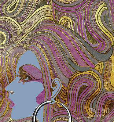 Silver Hoop Retro Fashion Girl Poster by Mindy Sommers